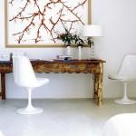 rustic desk tulip chair